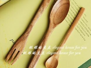 餐具 原木 日式风 木质 叉勺套装(三件一组),勺筷,