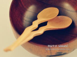 日式Zakka/天然原木弯柄搅拌勺/甜品勺咖啡勺/木勺/日本木制餐具,勺筷,
