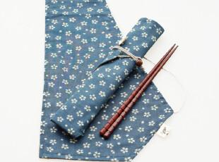 游园之樱花物语 全棉筷子收纳整理袋餐具袋 浅蓝底白花,勺筷,