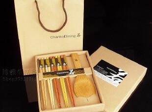 出口日本筷子 筷子礼品 5色原木筷子+勺套装 木制餐具礼盒送礼袋,勺筷,