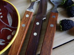 木柄西餐餐具套装/叉子+勺子+刀子 3件套 (木柄有色差),勺筷,