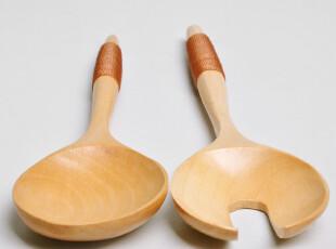 【制品】原木火锅叉 火锅勺 沙拉勺 沙拉叉 原木色 木质餐具套装,勺筷,