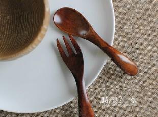原单 手工木勺饭勺餐具 儿童勺叉套装,勺筷,