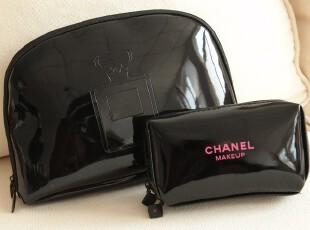 黑色漆皮亮面洗漱包化妆包手拿包 没有品牌意义LOGO仅装饰作用!,化妆包,