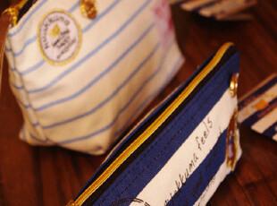 Rilakkuma轻松熊 海军风条纹 帆布笔袋手机包化妆包收纳袋 2款选,化妆包,