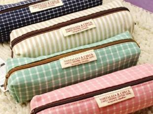 最可爱♀韩国进口创意文具礼品格子布笔袋|收纳袋|化妆包满88包邮,化妆包,