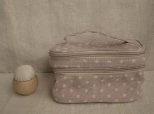 日单尾货 棉麻拉链双层化妆包 紫色水玉,化妆包,