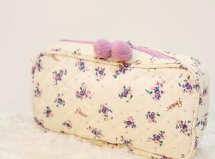 051 日本 杂志款 zakka风 球球 清新花柄碎花 收纳包化妆包,化妆包,