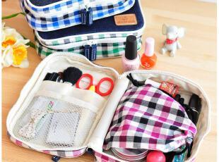 默默爱♥简约格子牛仔布收纳包化妆包 韩国可爱多功能整理包,化妆包,