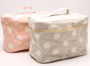 日式MUJI浅色本色粉红色大圆点加大号化妆包 带拉链带把手收纳箱,化妆包,