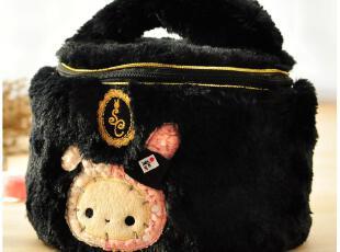 默默爱♥忧伤马戏团 团长忧忧兔 超大容量 圆筒黑色 毛绒化妆包,化妆包,