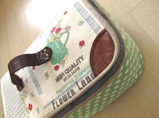 布艺样 手工棉麻复古手提收纳箱 收纳筐 化妆包(售出)可定制,化妆包,