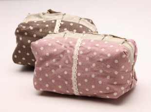 田园风粉色圆点胖胖化妆包 荷叶边花边拉链麻布零钱杂物收纳袋,化妆包,