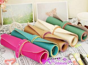 特。日韩文具 时尚可爱笔袋 卷卷皮质 笔袋 笔帘 化妆包 6色选,化妆包,
