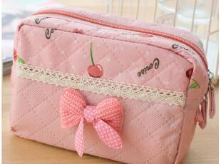 默默爱♥粉黛佳人 浪漫蕾丝收纳包化妆包 大 韩国可爱蝴蝶结女包,化妆包,