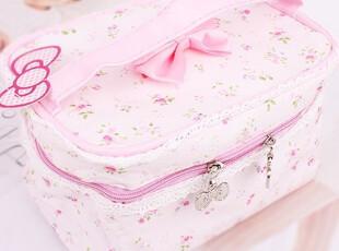 1C14928畸良纯棉布布艺化妆包/收纳包/蕾丝边拉链收纳包 100,化妆包,