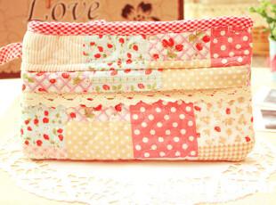 特价韩版可爱田园草莓小方格化妆包零钱包收纳包杂物包小拎包,化妆包,