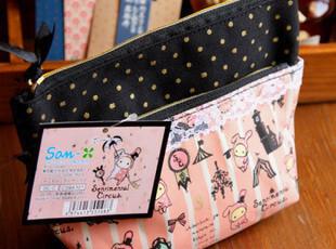 可爱SAN-X 忧伤马戏团 优优兔粉色蕾丝双层拉链化妆包,化妆包,