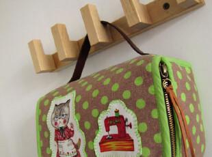 纯棉手工拼布棉麻 收纳包 手提箱化妆包 需定制,化妆包,