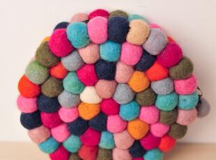 尼泊尔 纯手工 民族风 羊毛毡 圆形 多彩球 零钱包 化妆包 杂物袋,化妆包,