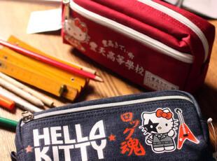 日本豐天商店 x hello kitty 古早日本风 牛仔化妆包 原版 元气,化妆包,