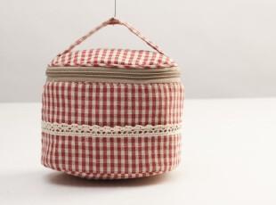 日单棉麻布 红色格子化妆袋 拎手化妆包 花边可爱女包,化妆包,