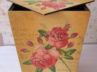 富贵玫瑰 欧式田园 带盖木制垃圾桶 包邮特价,
