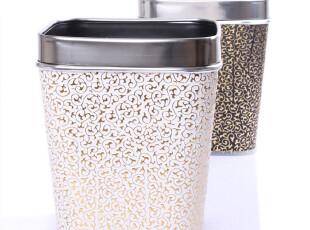 【Janeouya 简欧雅】方形如意纹 简约时尚黑白色皮革废纸篓垃圾桶,