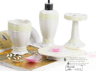 双11 大促销北欧风格 纯白陶瓷 卫浴四件套花边纹理,