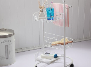 欧润哲 3层椭圆底圈 带轮浴室架子 落地洗漱架毛巾架洗衣机置物架,毛巾架,