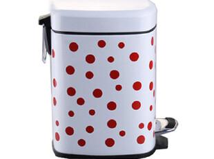 欧润哲 大号日式方形红色波点垃圾桶脚踏田园 可爱家用厨房卫生间,