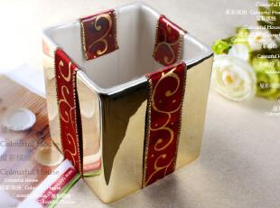 电镀金色收纳桶 小小垃圾桶 办公室的个人工具桶 外贸余单陶瓷,浴室储物,