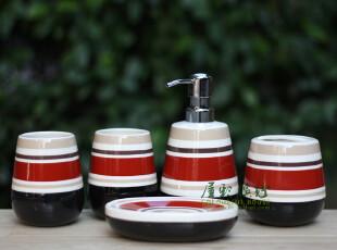 七彩条纹 陶瓷卫浴五件套 浴室用品浴室套件外贸余单,