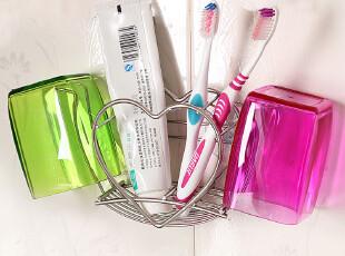 欧润哲 心形不锈钢放牙刷架+情侣漱口杯 吸盘牙膏架创意牙缸架,