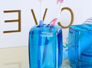 欧润哲 4孔宝石蓝牙膏牙刷架 塑料情侣牙刷杯架创意生活用品牙杯,