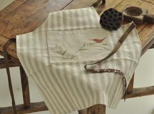 原创 条纹亚麻 手绘(快乐小鸟)围裙 纯棉吊带 居家简约,