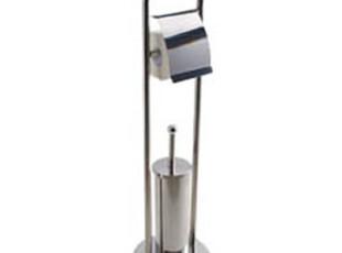 欧润哲 日本不锈钢马桶刷架 带纸巾架厕所刷套装创意软毛厕所用品,马桶配饰,