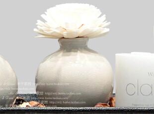 米子家居家居装饰品礼物 日式通草花冰裂纹陶瓷圆瓶礼盒香薰套装,