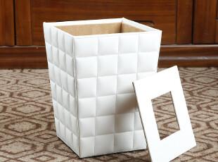 西雅路 白色羊皮纹垃圾桶时尚创意桌面车载宜家欧式田园厨房家用,