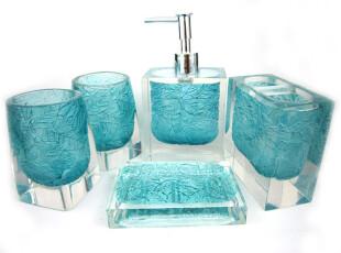 洁雅阁正品*结婚送礼水晶树脂浴室卫浴五件套 内雕叶 绿色,