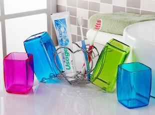 欧润哲 牙具五件套装 不锈钢牙刷架+漱口杯 创意情侣牙缸可爱洗具,