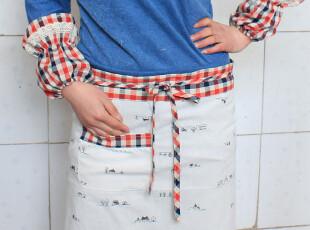 自然乡村系列 半身围裙 纯棉布艺 送袖套,