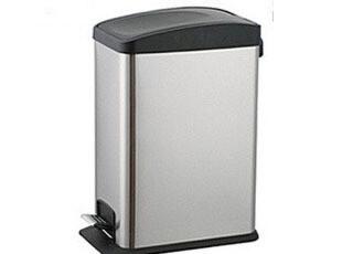 欧润哲 12升长方形黑色翻盖不锈钢田园垃圾桶脚踏家用厨房多功能,