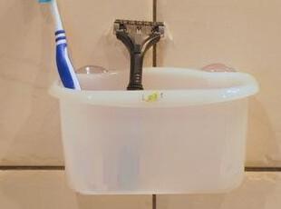 日本进口のInomata 吸盘置物篮/浴室牙刷架/杂物沥水篮 白色,