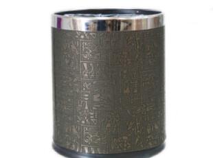 欧洲卫浴品牌SPIRELLA 创意复古埃及壁画纹 双层不锈钢高档垃圾桶,