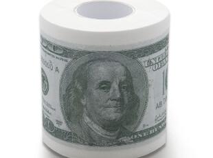 纸元素 创意彩色印花 英语美元 卷纸 卫生纸,