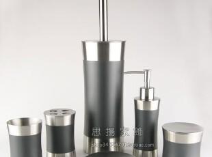 出口日本 不锈钢卫浴 6 件套 (包速递) 瘦腰形银黑色,
