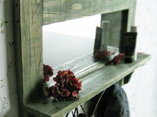 [竹吉]日式 乡村 原木 木制 实木 镜子 搁板 挂镜 置物架(旧绿色),