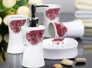 卫浴用品洗漱用品卫浴浴室套件卫浴五件套-红蔷薇,