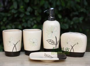 巧克力花 陶瓷卫浴五件套 外贸余单洁具浴室用品套件,